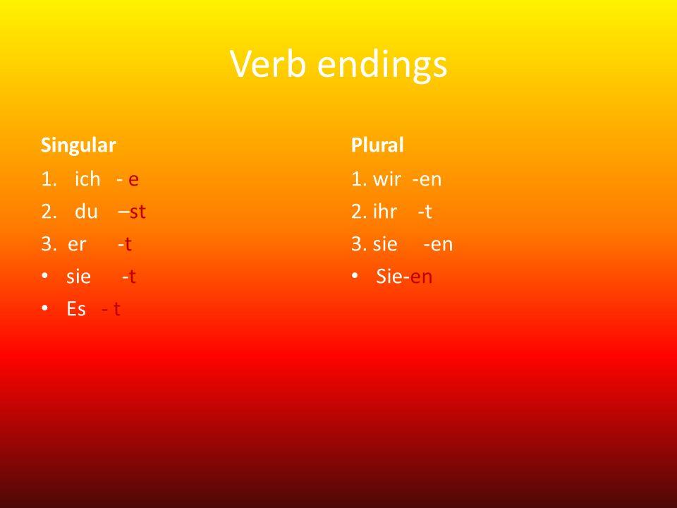 Verb endings Singular Plural ich - e du –st 3. er -t sie -t Es - t