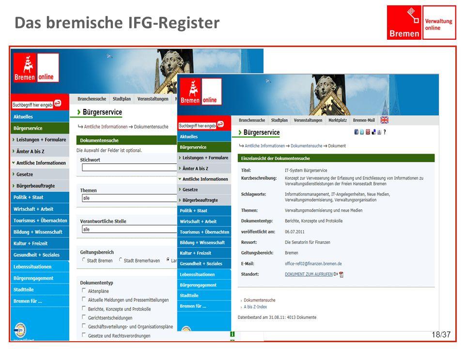 Das bremische IFG-Register