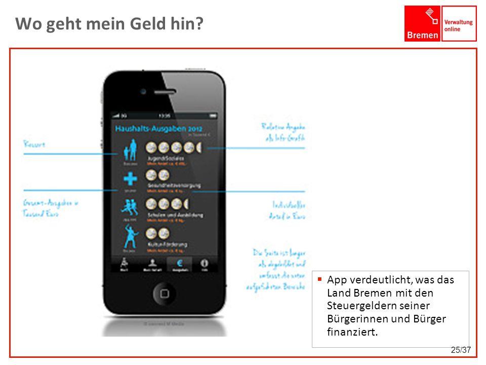 Wo geht mein Geld hin App verdeutlicht, was das Land Bremen mit den Steuergeldern seiner Bürgerinnen und Bürger finanziert.