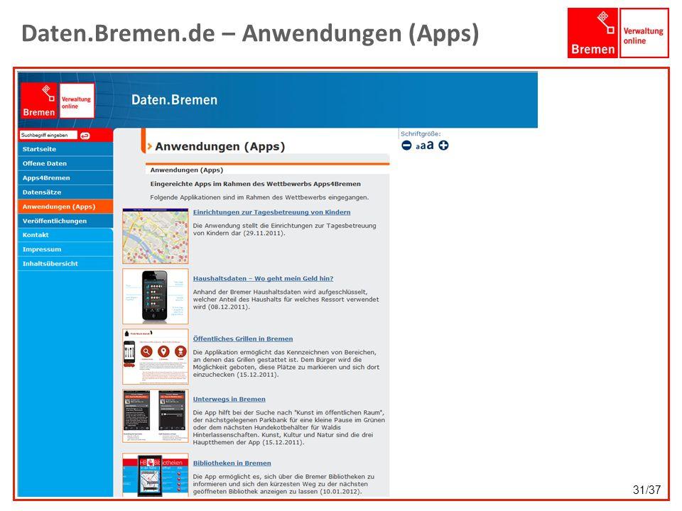 Daten.Bremen.de – Anwendungen (Apps)