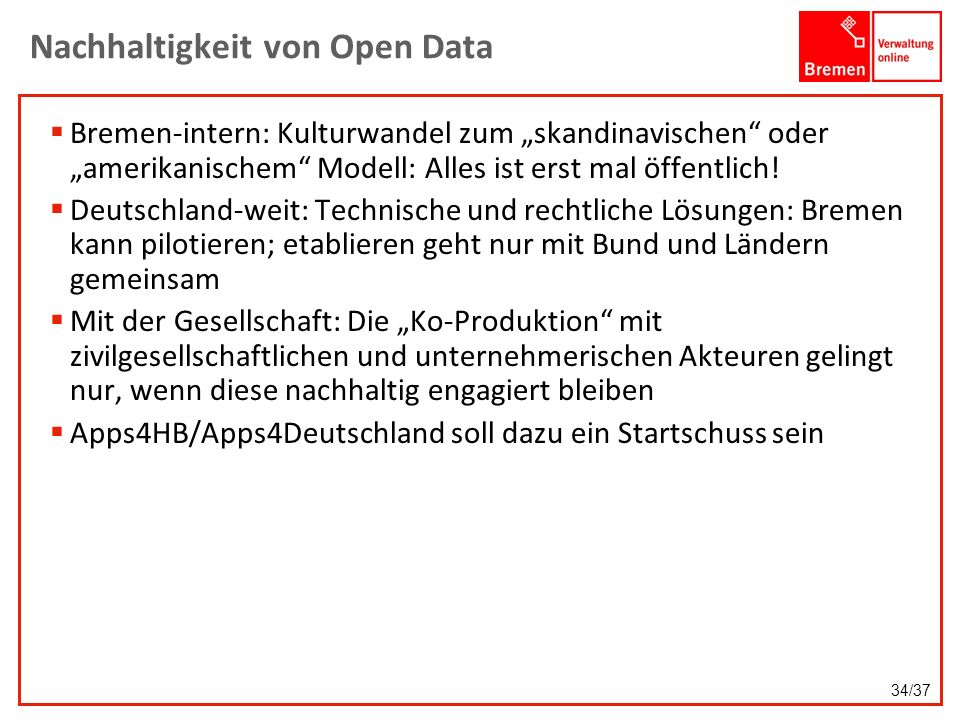 Nachhaltigkeit von Open Data
