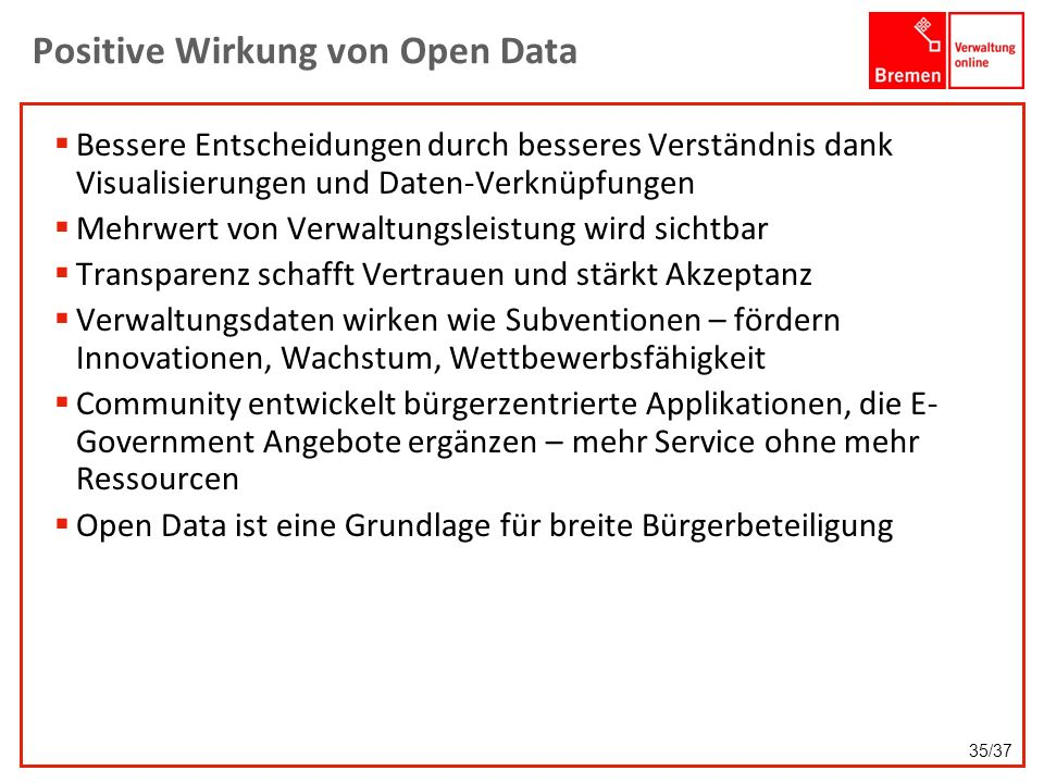 Positive Wirkung von Open Data