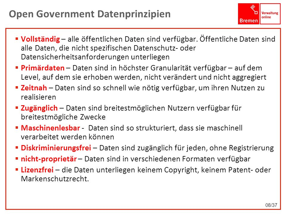 Open Government Datenprinzipien