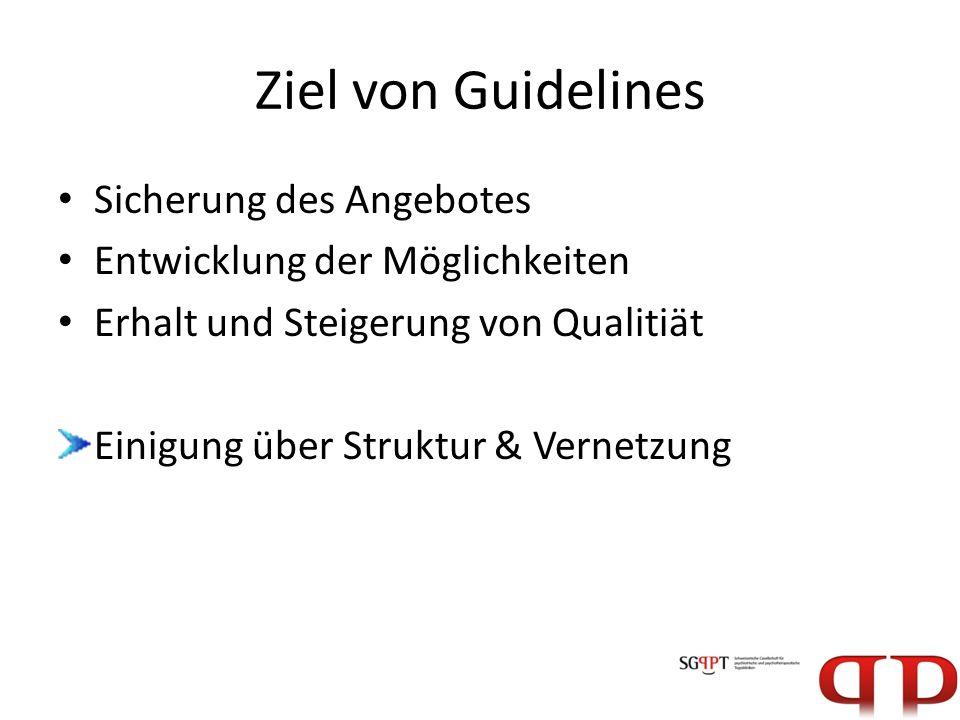 Ziel von Guidelines Sicherung des Angebotes