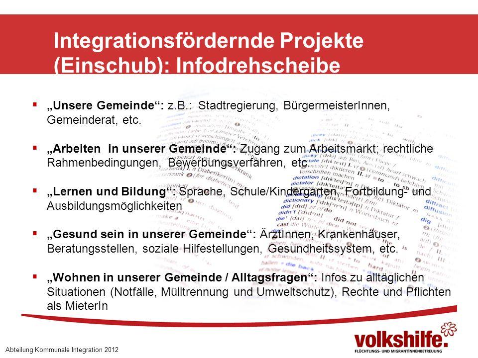 Integrationsfördernde Projekte (Einschub): Infodrehscheibe