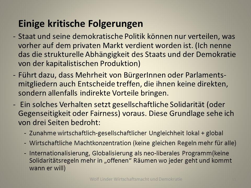 Wolf Linder Wirtschaftsmacht und Demokratie