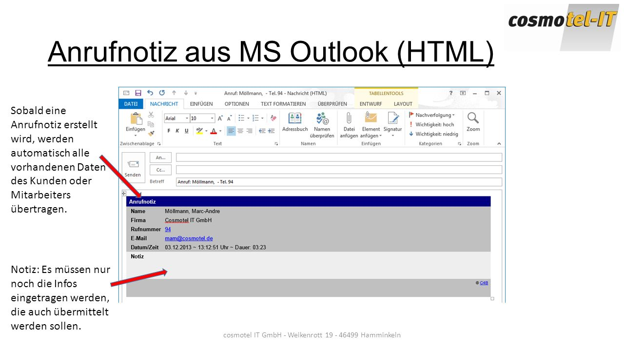 Anrufnotiz aus MS Outlook (HTML)