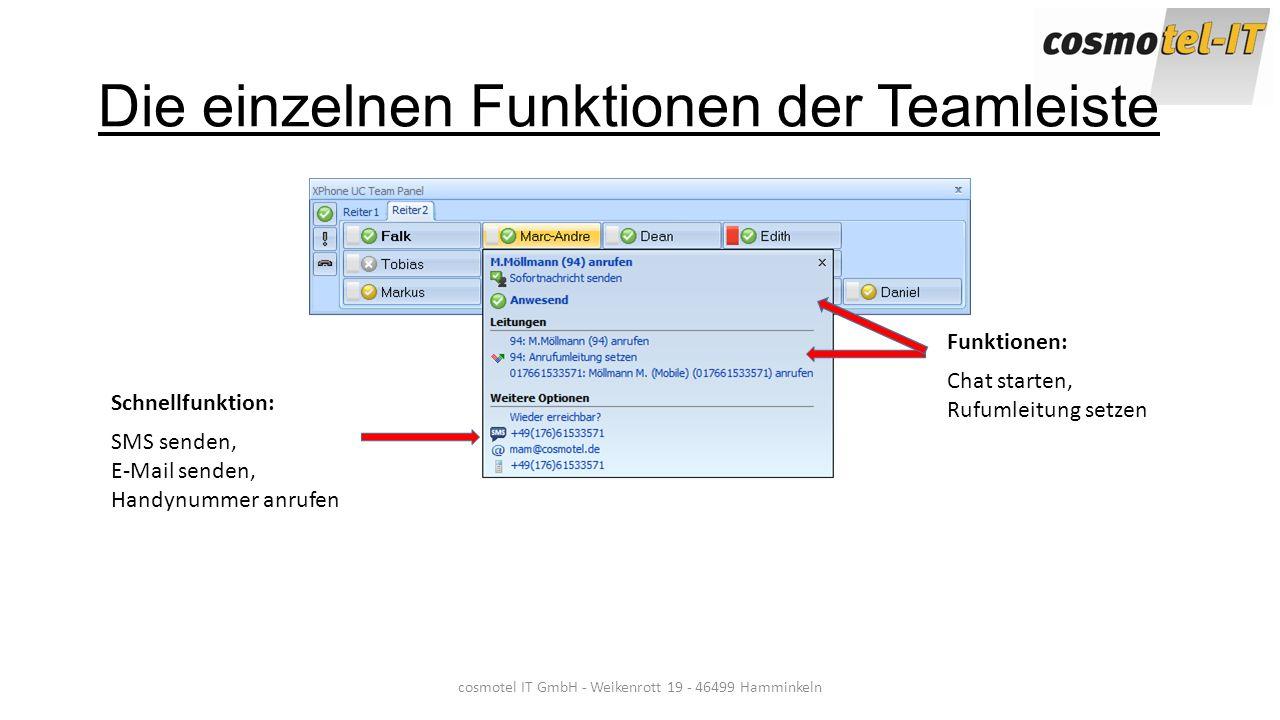 Die einzelnen Funktionen der Teamleiste