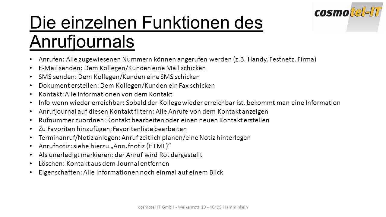 Die einzelnen Funktionen des Anrufjournals