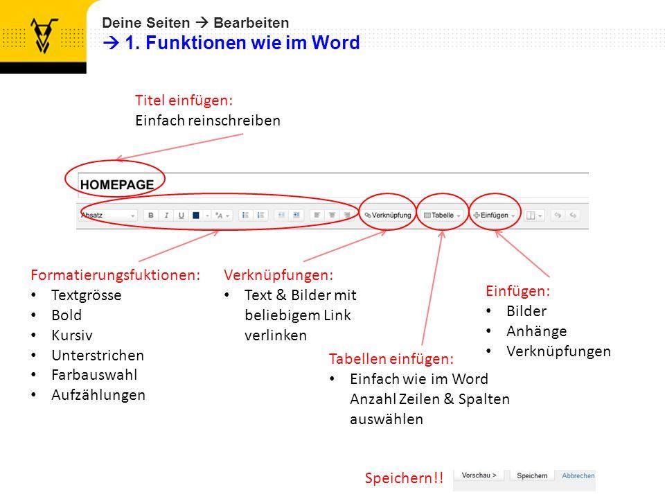  1. Funktionen wie im Word