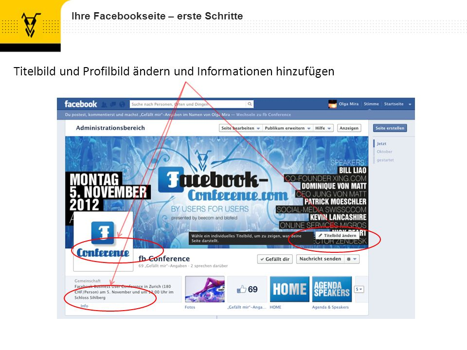 Titelbild und Profilbild ändern und Informationen hinzufügen