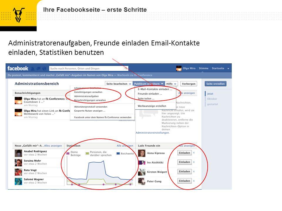 Ihre Facebookseite – erste Schritte