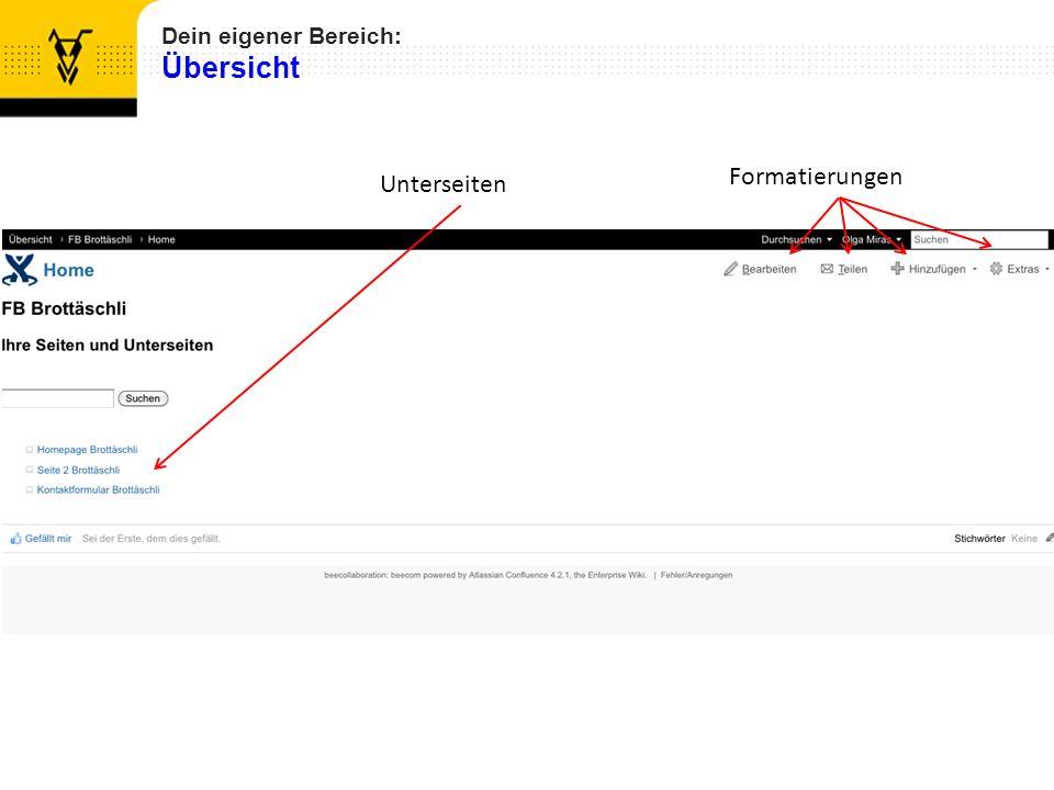 Dein eigener Bereich: Übersicht Formatierungen Unterseiten