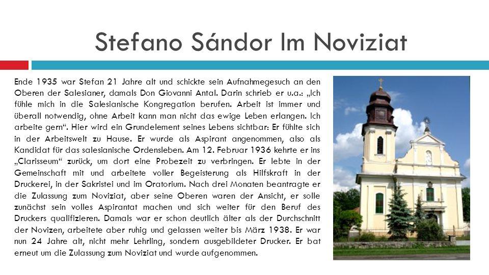 Stefano Sándor Im Noviziat