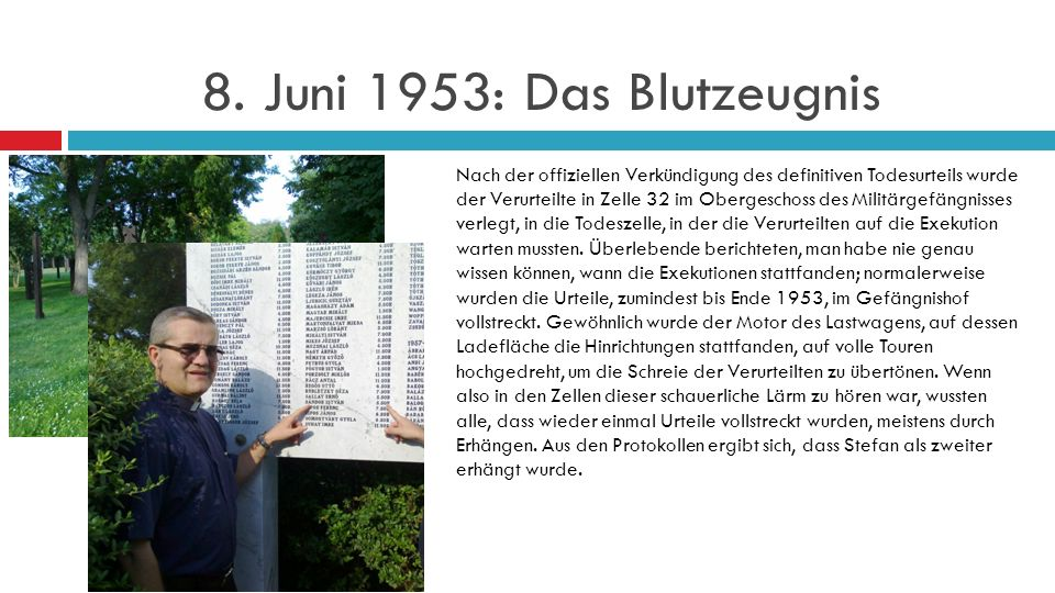 8. Juni 1953: Das Blutzeugnis