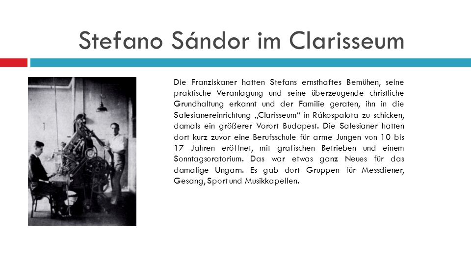 Stefano Sándor im Clarisseum