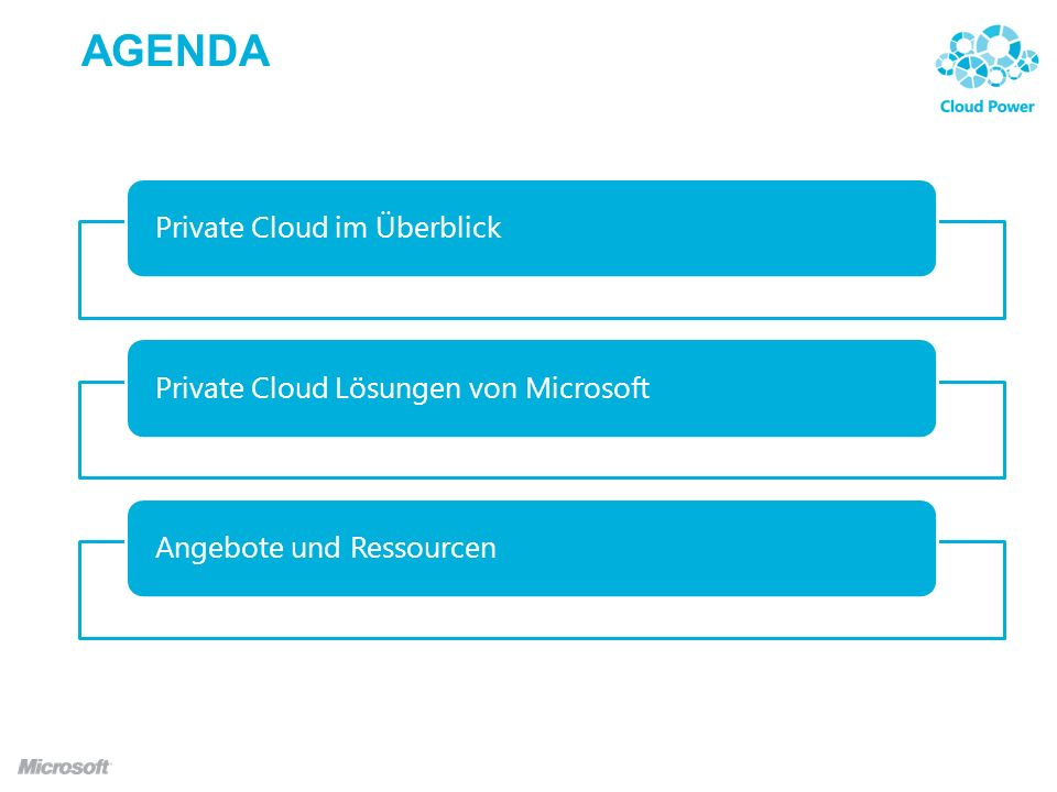 AGENDA Private Cloud im Überblick Private Cloud Lösungen von Microsoft
