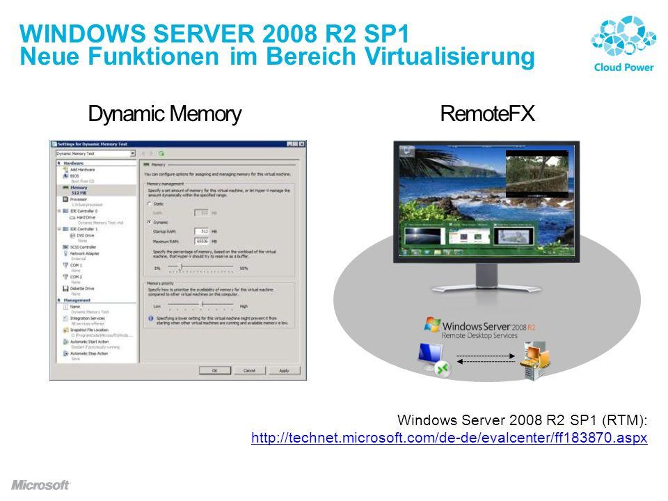Windows Server 2008 R2 SP1 Neue Funktionen im Bereich Virtualisierung