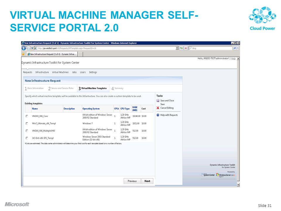 Virtual machine manager self-service portal 2.0