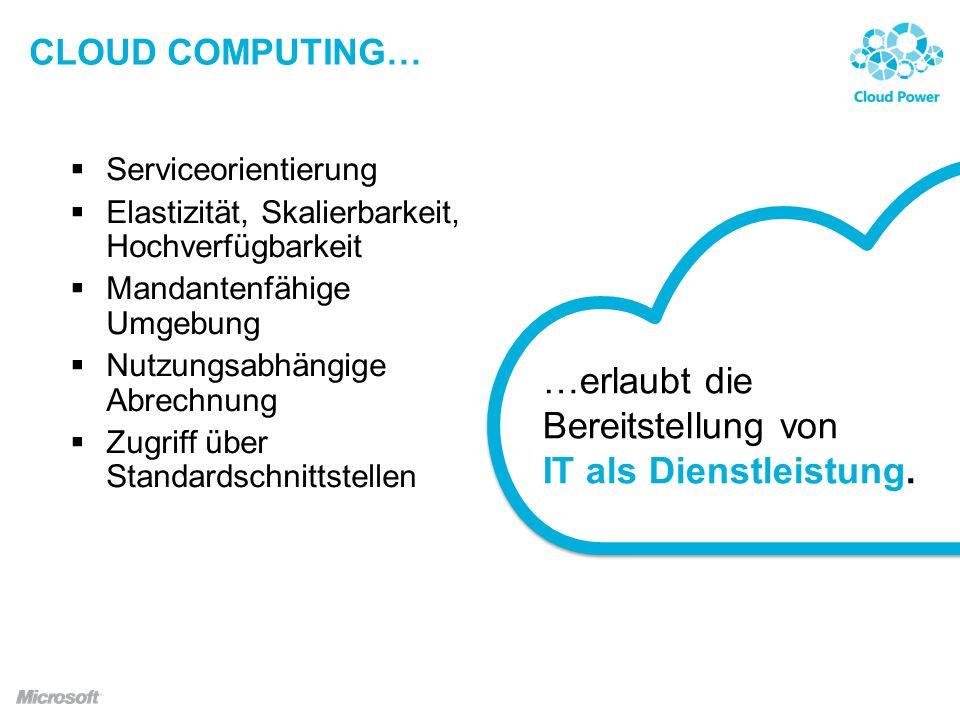 …erlaubt die Bereitstellung von IT als Dienstleistung.