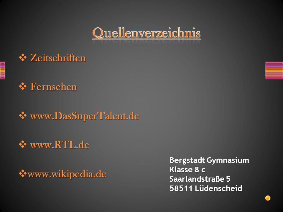 Quellenverzeichnis Zeitschriften Fernsehen www.DasSuperTalent.de