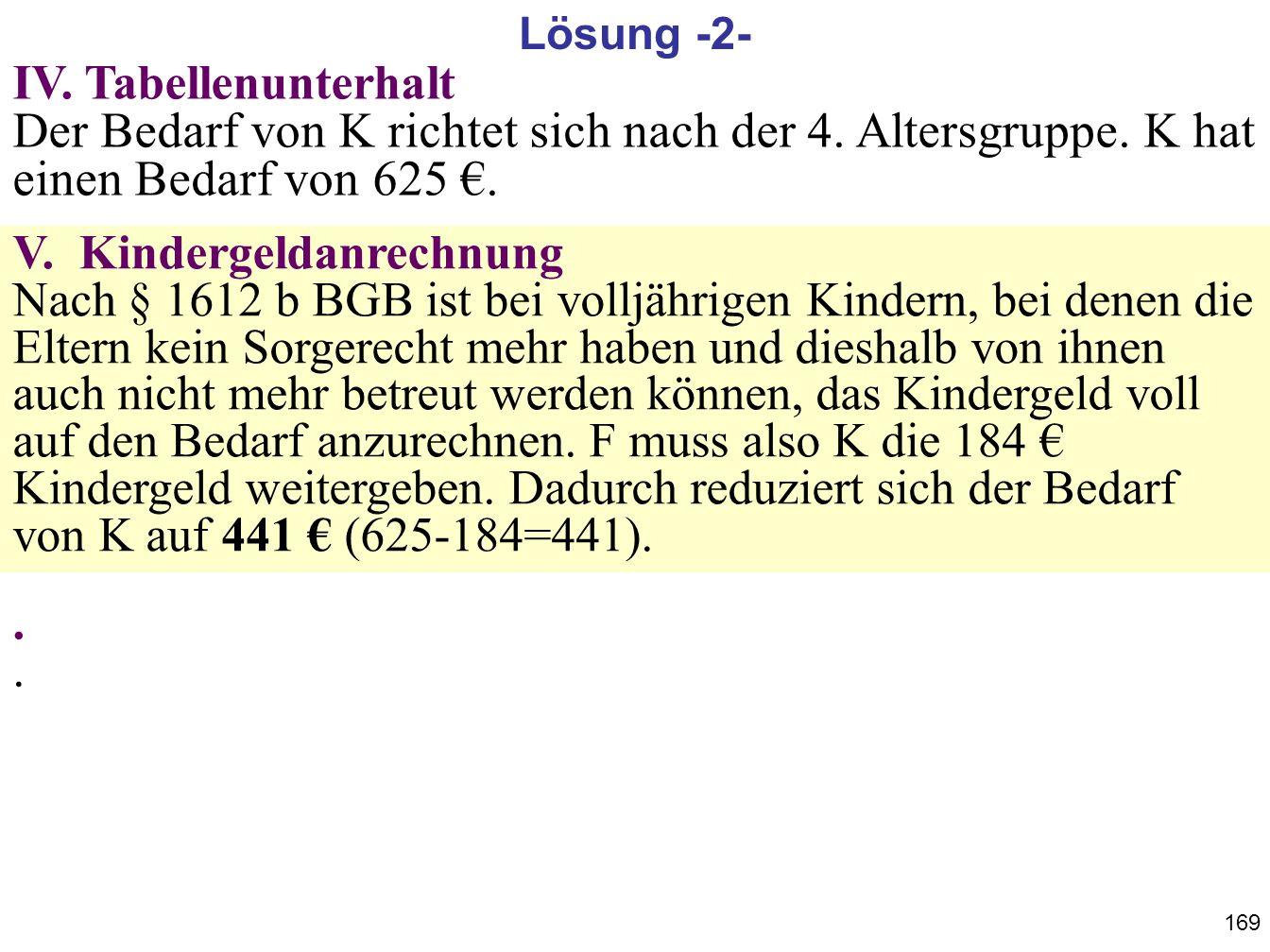 Lösung -2- IV. Tabellenunterhalt Der Bedarf von K richtet sich nach der 4. Altersgruppe. K hat einen Bedarf von 625 €.
