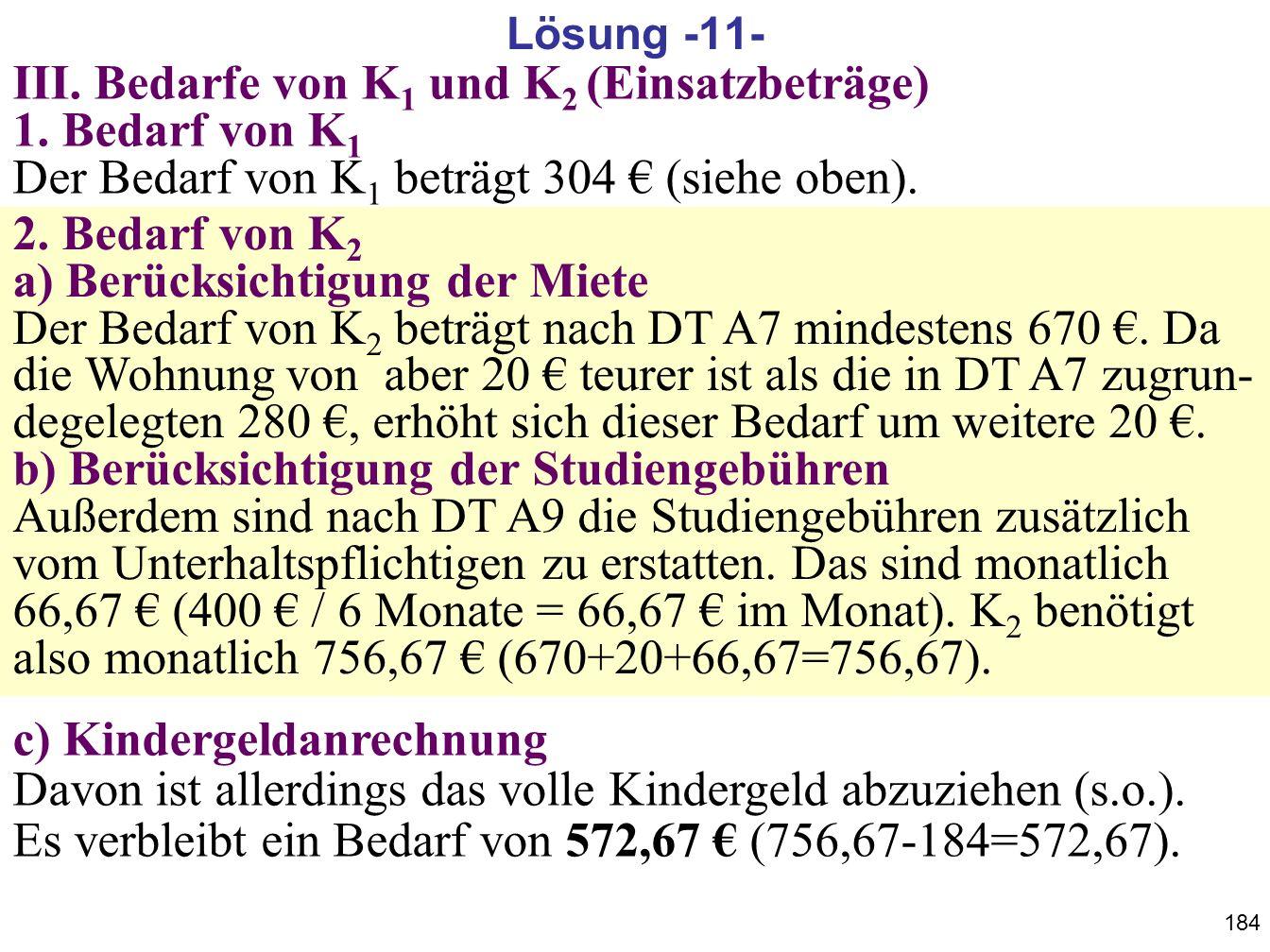 Lösung -11- III. Bedarfe von K1 und K2 (Einsatzbeträge) 1. Bedarf von K1 Der Bedarf von K1 beträgt 304 € (siehe oben).