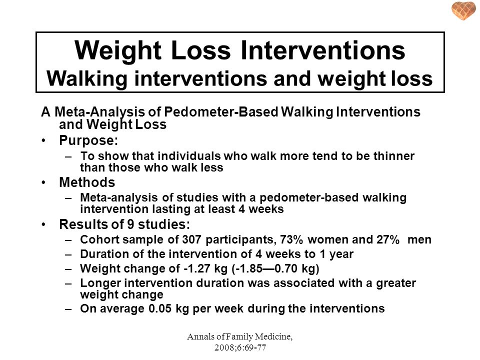 Weight Loss Interventions Walking interventions and weight loss