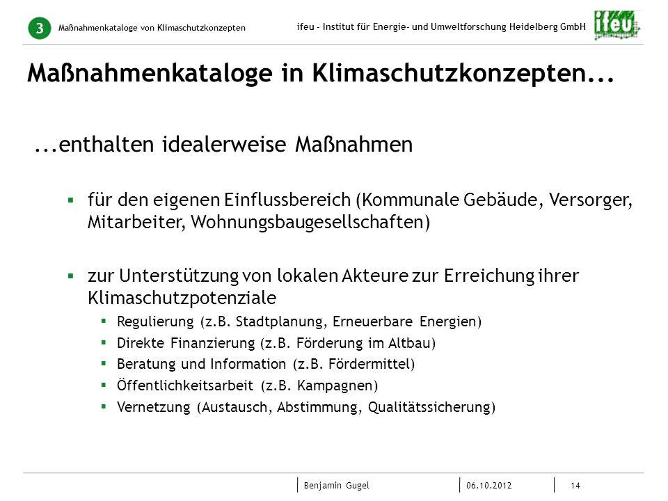 Maßnahmenkataloge in Klimaschutzkonzepten...