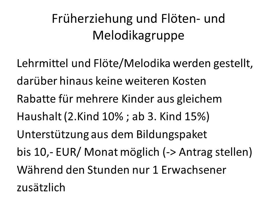 Früherziehung und Flöten- und Melodikagruppe