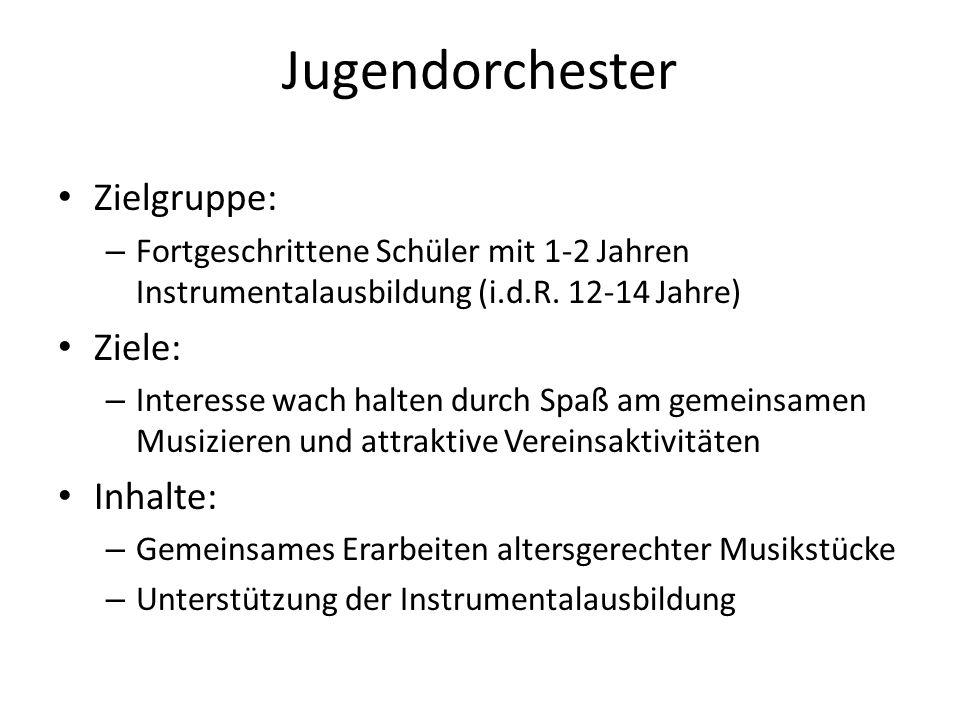 Jugendorchester Zielgruppe: Ziele: Inhalte: