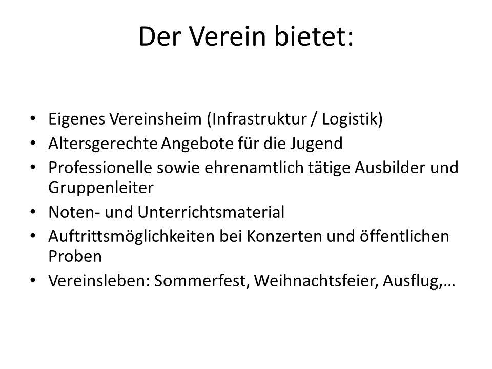 Der Verein bietet: Eigenes Vereinsheim (Infrastruktur / Logistik)
