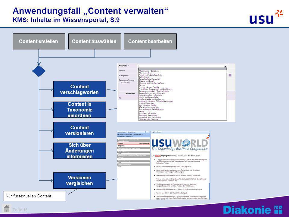 """Anwendungsfall """"Content verwalten KMS: Inhalte im Wissensportal, S.9"""