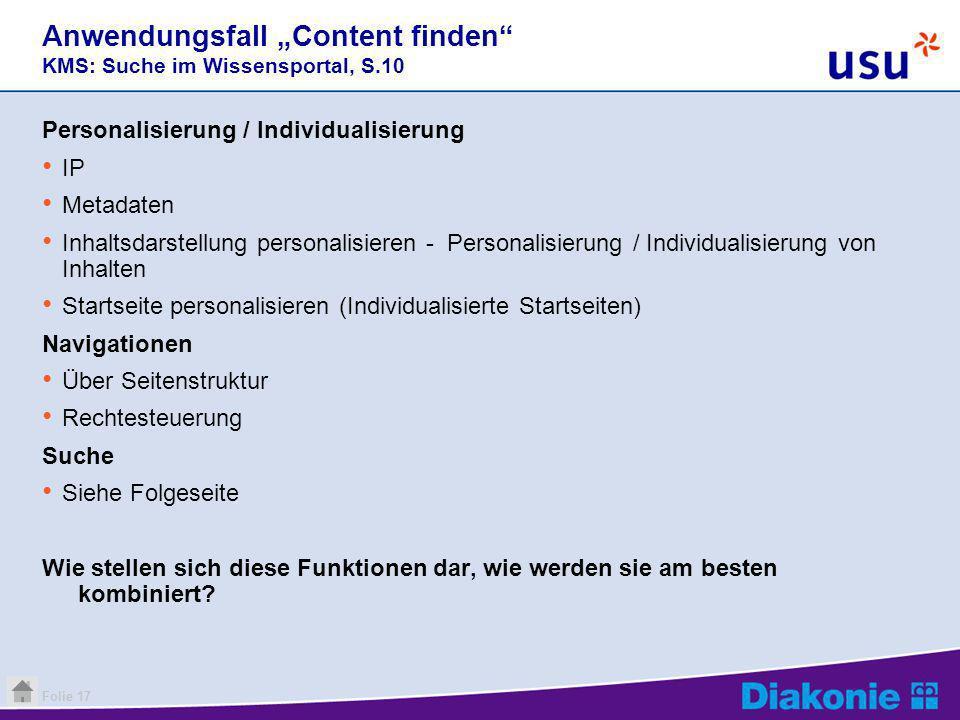 """Anwendungsfall """"Content finden KMS: Suche im Wissensportal, S.10"""