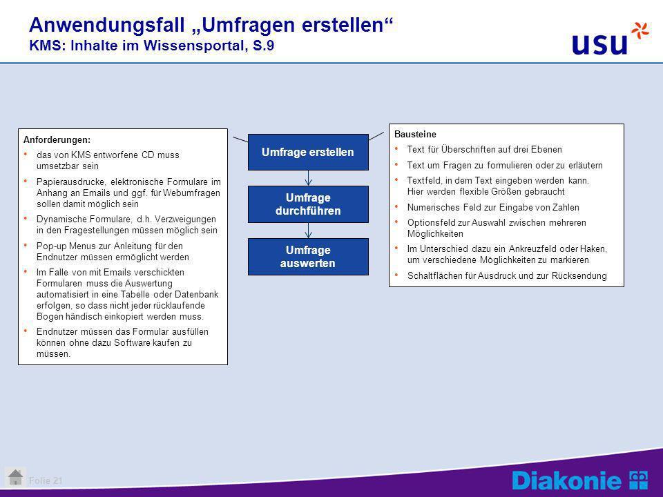 """Anwendungsfall """"Umfragen erstellen KMS: Inhalte im Wissensportal, S.9"""