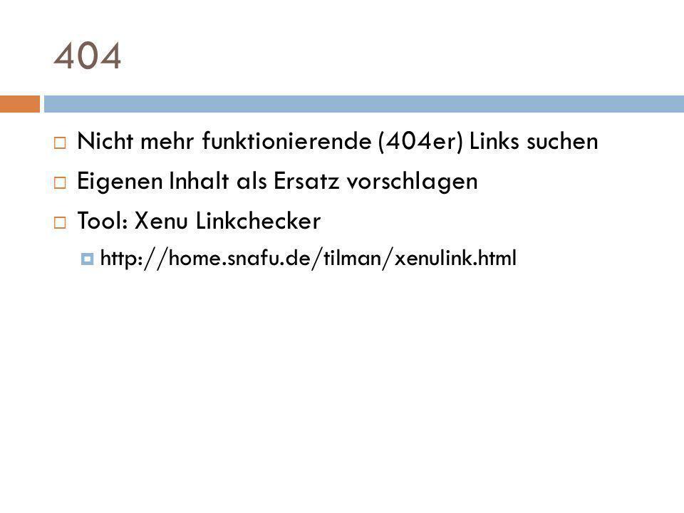 404 Nicht mehr funktionierende (404er) Links suchen