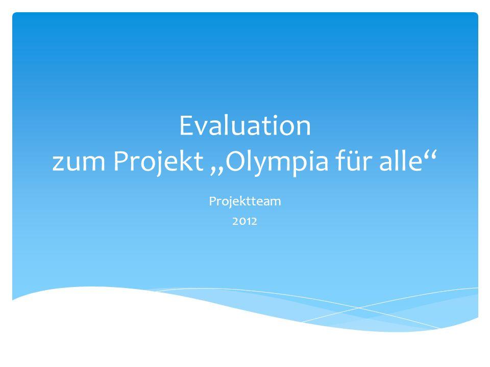 """Evaluation zum Projekt """"Olympia für alle"""