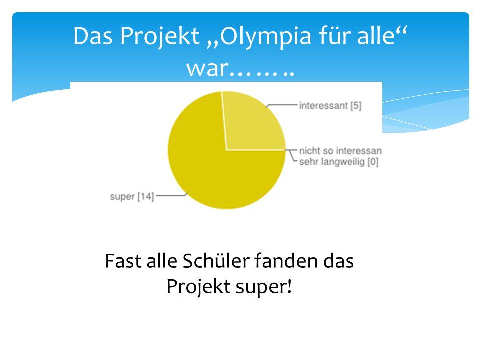 """Das Projekt """"Olympia für alle war…….."""