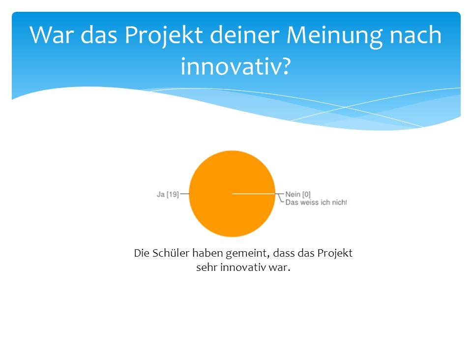 War das Projekt deiner Meinung nach innovativ