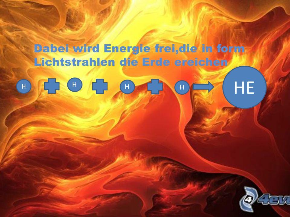 HE Dabei wird Energie frei,die in form Lichtstrahlen die Erde ereichen