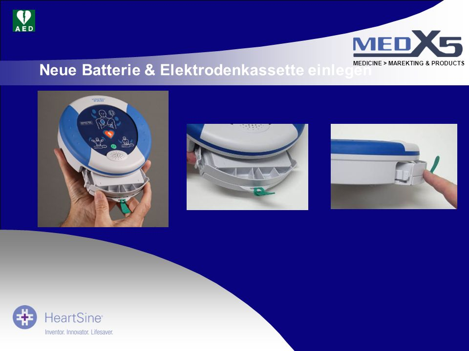 Neue Batterie & Elektrodenkassette einlegen