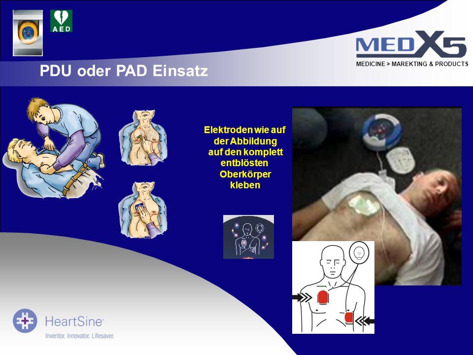 PDU oder PAD Einsatz Elektroden wie auf der Abbildung auf den komplett