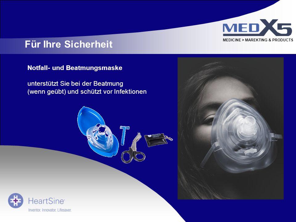 Für Ihre Sicherheit Notfall- und Beatmungsmaske