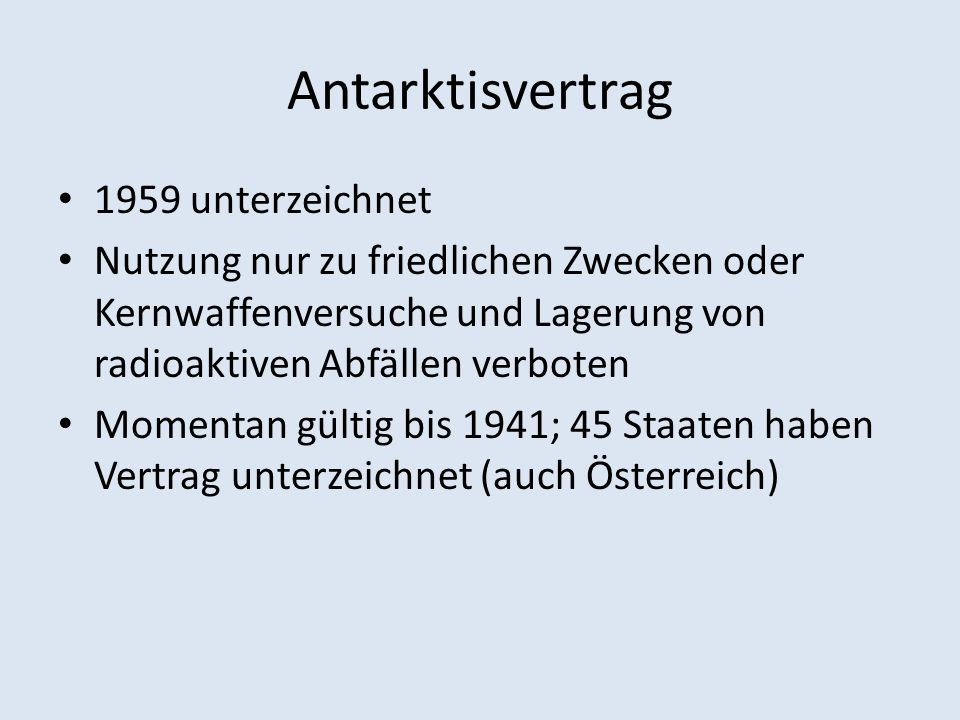 Antarktisvertrag 1959 unterzeichnet