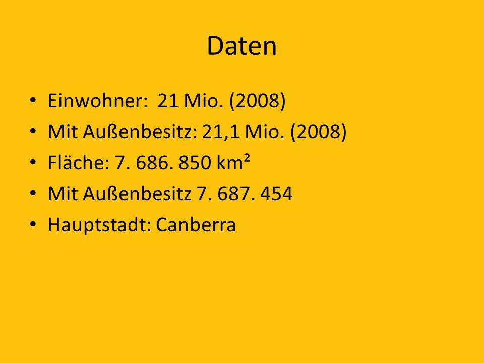 Daten Einwohner: 21 Mio. (2008) Mit Außenbesitz: 21,1 Mio. (2008)