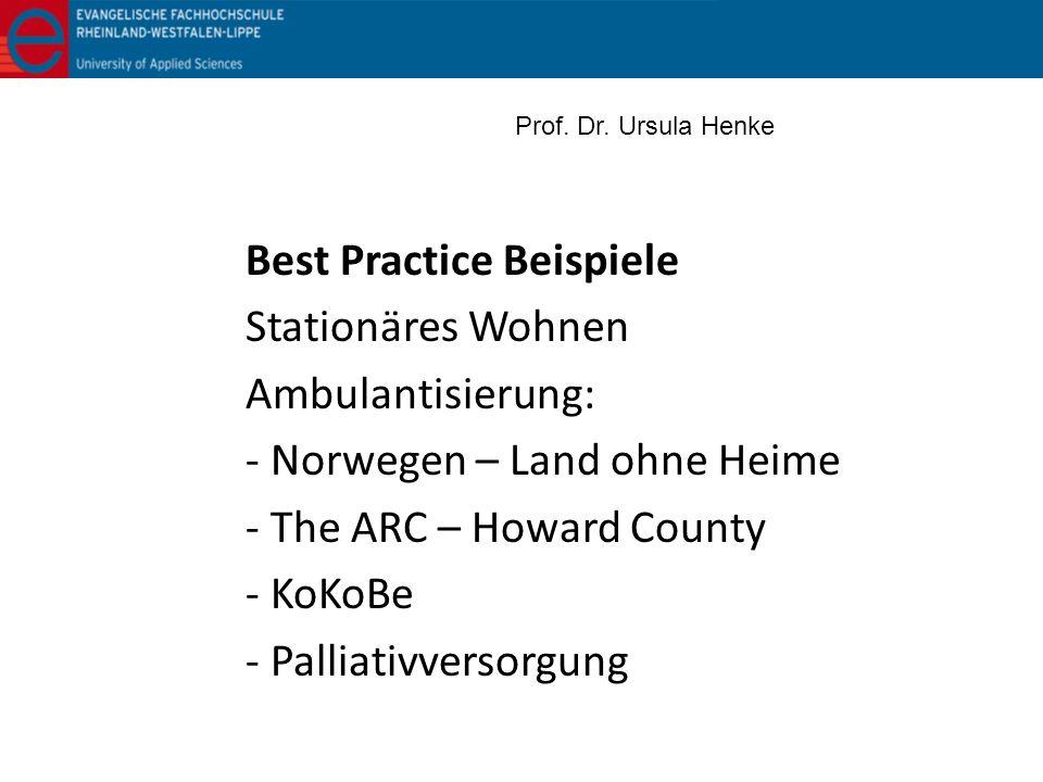 Best Practice Beispiele Stationäres Wohnen Ambulantisierung: