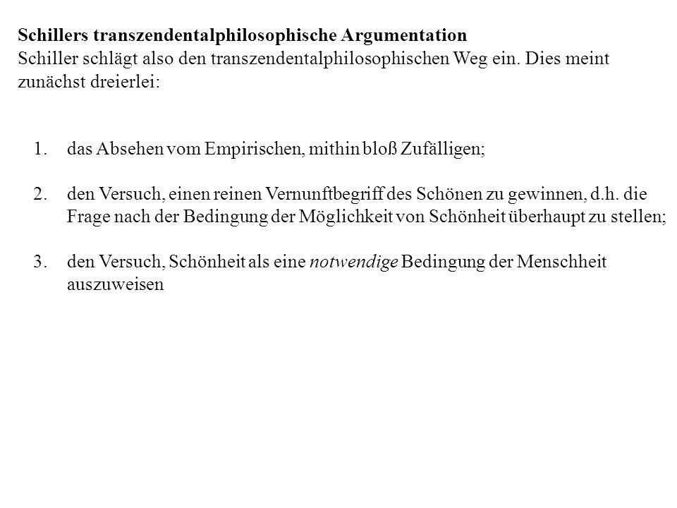 Schillers transzendentalphilosophische Argumentation Schiller schlägt also den transzendentalphilosophischen Weg ein. Dies meint zunächst dreierlei: