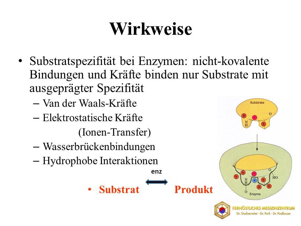 Wirkweise Substratspezifität bei Enzymen: nicht-kovalente Bindungen und Kräfte binden nur Substrate mit ausgeprägter Spezifität.