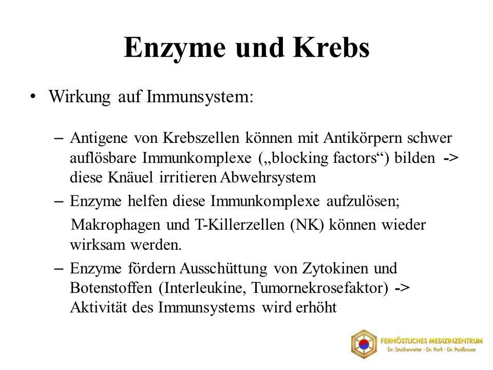 Enzyme und Krebs Wirkung auf Immunsystem: