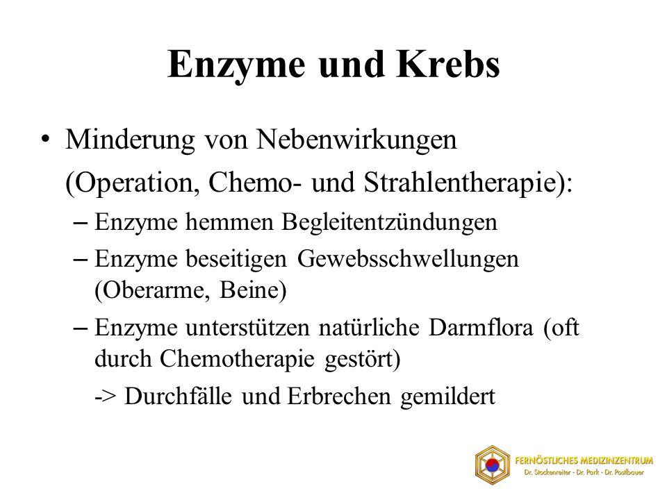 Enzyme und Krebs Minderung von Nebenwirkungen